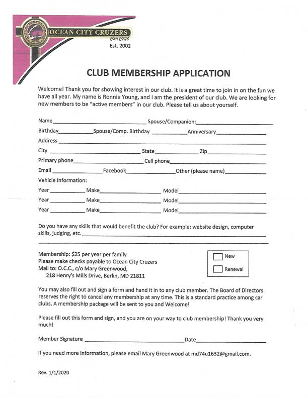 Ocean City Cruzers Club Membership Application